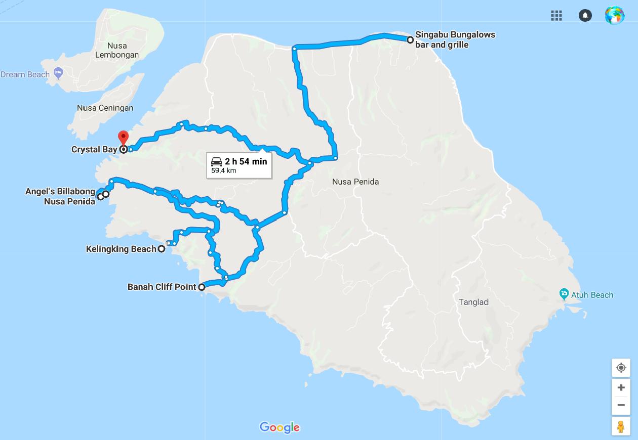 Mapa Nusa penida