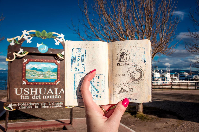 passaporte carimbado em Ushuaia